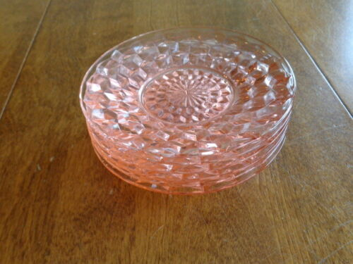 JEANNETTE GLASS CUBE PINK BREAD AND BUTTER PLATES LOT OF 6