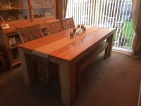 Dining table and 6 chairs and bench