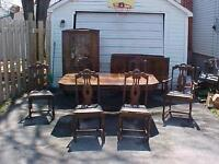 Antique 1905 dining room set table 6 chairs buffet china cabinet