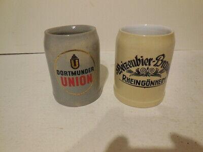 2 VINTAGE GERMANY Ceramic Stoneware BEER MUGS - .5 L - free shipping