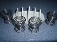 Metal Wire Egg Cups x 4 and TOAST RACK - RETRO COLLECTORS BREAKFAST PACKAGE