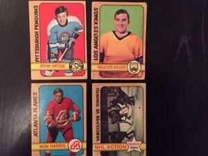 Four 1972-73 O-Pee-Chee hockey cards