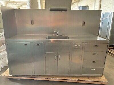 Stainless Steel Lab Or Kitchen Casework 8 Upper 8 Bench Tall Cabinet Wsink