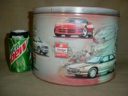 Vintage CHRYSLER PLYMOUTH JEEP DODGE TIN CAN 1993 VIPER FRANKENMUTH PRETZEL TIN