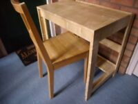 Ikea Wooden Desk / Table and Chair