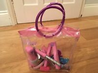 Disney Princess hair styling bag & Musical Necklaces and Children's dressing up bracelets, rings