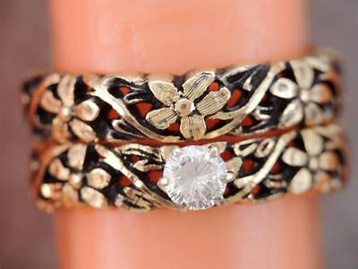 RARE Vintage ARTCARVED 14k Gold Flower Diamond Engagement Ring & Wedding Band