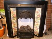Black metal fire surround with tile inserts