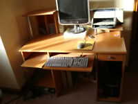 GOOD QUALITY COMPUTER DESK / WORK STATION. Moderate size: Length, 120cm; Depth, 67cm,