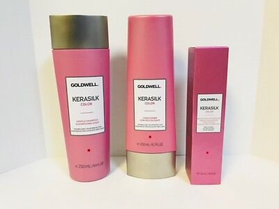 GOLDWELL KERASILK COLOR SHAMPOO, CONDITIONER, HAIR PERFUME TRIO  for sale  Shipping to India