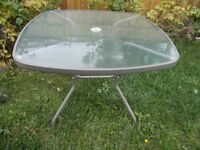 Brown Metal Square Glass Patio Table