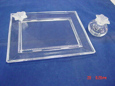 Clear Glass Vanity Dresser Tray with Frosted Glass Flower Attached Diamond Point