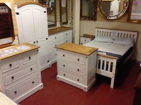 New White or Grey Corona Bedroom set 2+2 chest, Bedside & 2 door robe £439