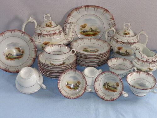 29 Piece Antique Luster Ware Continental Germany HP Landscape Teapot Desert Set