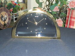 Vintage SEIKO Quartz See-Thru Smoked Glass & Brass Sleek Table Desk Clock Japan