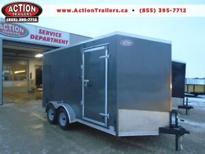 7X14 HAULIN WITH UTV PACKAGE, V-NOSE AND 1 PC ROOF-GREAT VALUE!!