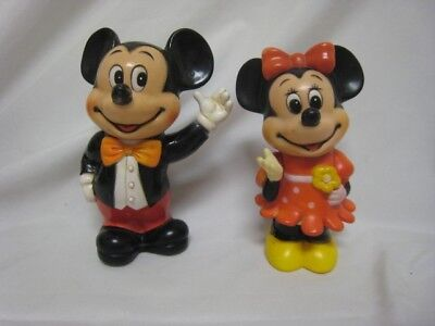 VINTAGE  MICKEY MOUSE AND MINNIE MOUSE BANKS / 1970'S WALT DISNEY PRODUCTIONS