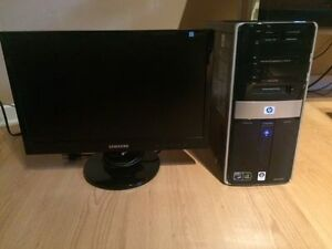 HP desktop (2.3 GHz, 6 GB RAM) + Monitor - $165