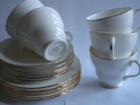 DUCHESS ASCOT WHITE AND GOLD FINE BONE CHINA tea set
