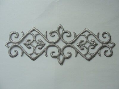 Metallic Scroll (Silver Metallic Scroll Rectangle Costume Iron On Embroidered Patch 7.25 Inches)
