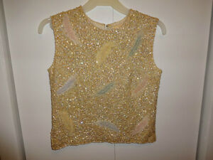 vintage beaded knit top size M