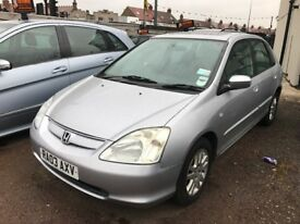 2003 Honda Civic 1.6 AUTOMATIC, FULL LEATHER SEATS, SUNROOF, HPI CLEAR, CLEAN CAR