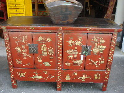 SUPERB OLD SHANXI NORTHERN ELM WOOD CHEST H.PAINTED