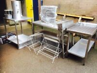 Catering equipment tables sinks shelving canopys racks trollies.