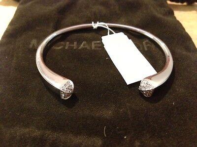Michael Kors Bracelet Crystal Rhomboid Brilliance Pyramid Silver Bangle $125