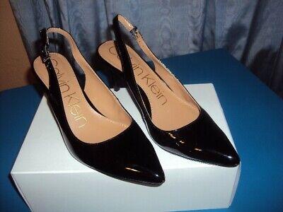 "Women Calvin Klein ""Gala"" sling back,Black patent shoes,size 8.5 M"