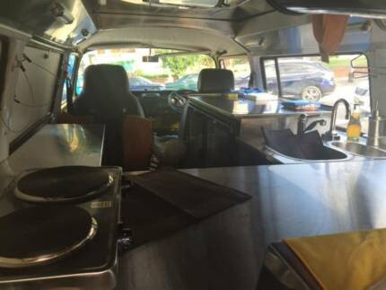 Kombi coffee van with kitchen and service area