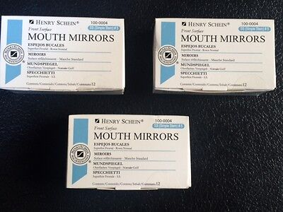 Dental Henry Schein Mouth Mirror Front Surface Simple Stem 5 Three Box Of 12