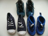 3 pairs boy toddler blue shoes trainers sizes 4 & 6 £3 the lot southbourne