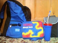 ALL NEW!! FIVE items - rucksack,thermal snack carrier,small lunch pack and 2 sports cups ALL for