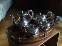 Beautiful Vintage Art Deco Silver Plated TeaSet with Wooden Tray circa 1940s