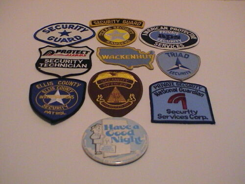 LOT /11 POLICE SECURITY GUARD TEXAS RANGERS HOME AP SASCO NATION USI PATCHES PIN
