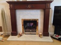 solid mahogany victorian style fire surround with grey vein marble back & hearth