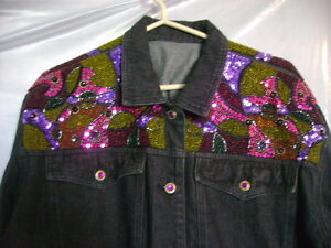 Beaded and sequined denim jacket