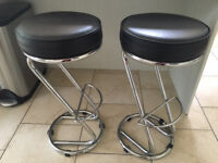 Leather bar stools x2