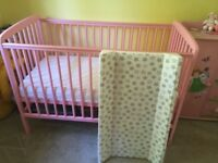 Pink Wooden Baby Cot