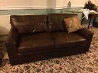 Leather 3 Piece Suite & Pouffe Dark Brown Good Condition