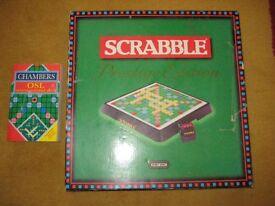 Scrabble Prestige Edition Including Chambers Scrabble Dictionary.
