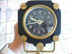 PENDULUX Altimeter Table Clock Black  Aviator Deck Clock  WWII Aircraft MINT TAG
