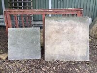 Reclaimed paving slabs textured buff and smooth finish grey