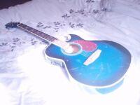 rare lindo slim semi accoustic electric guitar (blue)