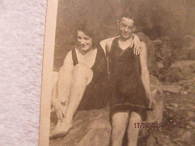 Vtg. Photo of Man & Woman in One-Piece Bathing Swim Suits Sit on Rock 1910-1920s