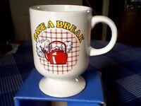 """""""HAVE A BREAK"""" FOOTED BREAKFAST MUG - RETRO/VINTAGE 1970's - UNUSED"""