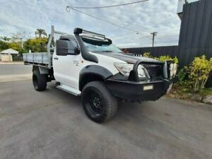 2013 Toyota Hilux KUN26R MY12 SR (4x4) White 4 Speed Automatic Cab Chassis Bungalow Cairns City Preview