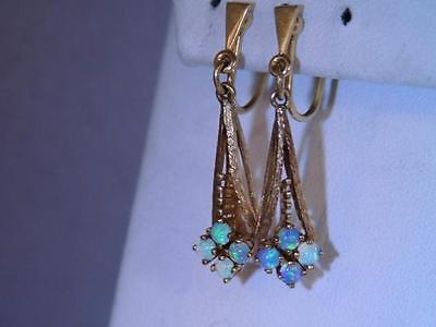 Art Deco 14K Gold Colorful Opal Dangle Drop Earrings STUNNING LOOK