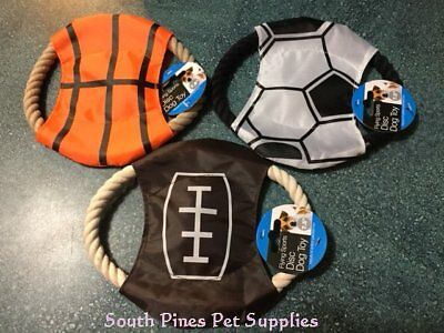 Flying Sports Disc Dog Rope Toy - soccer, football, basketball, 7.5